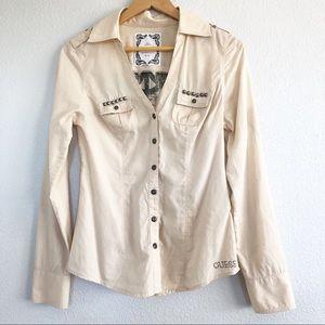 Guess Jeans Beige Dress Shirt Button-down Top Sm